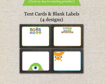 Monsters Tent Cards - chalkboard INSTANT DOWNLOAD | Monster Buffet Cards | Monster Labels | Monster Birthday Party Printables