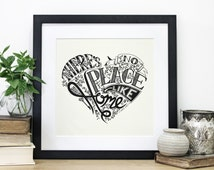 No Place Like Home, Wizard of Oz quote, Screen Print, Wall Print, Housewarming Gift, Typography Print, Chatty Nora, Heart Print, New Home
