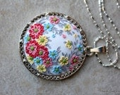 Polymer Clay Pretty Floral Applique Pendant Necklace