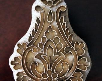 Handmade Indian Stamp, Textile Stamp, Blockprint Stamp, Pottery Stamp, Brass Tjaps - Baroque Motif