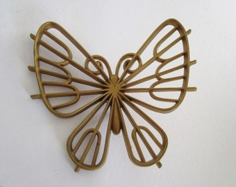 Vintage Gold Colored Plastic Butterfly Wall Art, from Burwood Productions, CO, from 1977