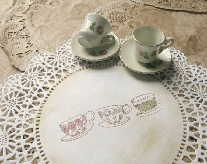 """Alice Paper Doilies, 10"""" Mad Tea Party Decor, Tea Cups Design, Hand Stamped, Aged, Vintage Style Alice in Wonderland - set of 10"""