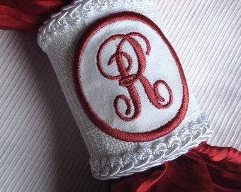 Handcrafted R Monogrammed Napkin Rings Personalized Letter Initial Monogram Hand Crafted Red White - #77