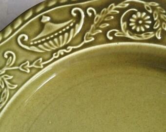 7 Canonsburg Regency Green Ironstone Dinner Plates Vintage Set - #4981