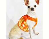 Adjustable Velcro Dog Harness Pet Collar Chihuahua Clothes with D Ring Orange Cotton Handmade Crochet DH53 by Myknitt - Free Shipping