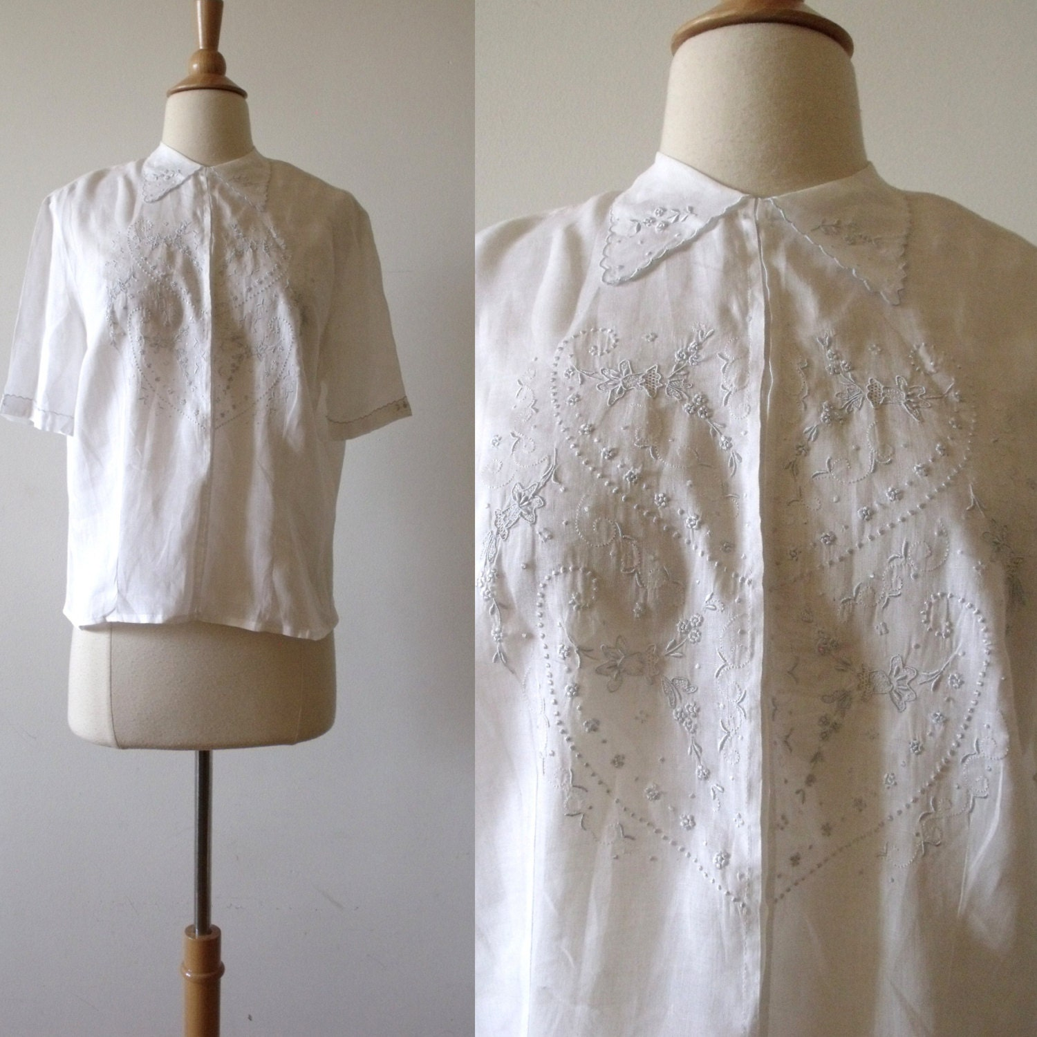 White Cotton Blouse With Embroidery 104