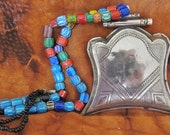 Old Tuareg Silver Pendant with Chevron & Onyx Beads