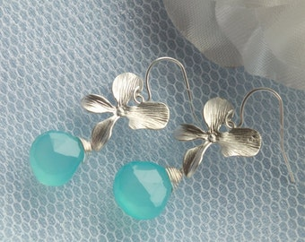 Aqua Blue Chalcedony and matte Orchid flower Earrings