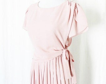 Vintage 80s Pink Pleated Dress S M Puffed Flutter Sleeves Side Tie Knee Length