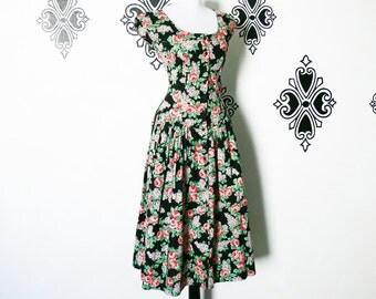 Vintage 80s does 50s Black Floral Dress S M Cap Sleeve Full Midi Skirt Paris Cotton