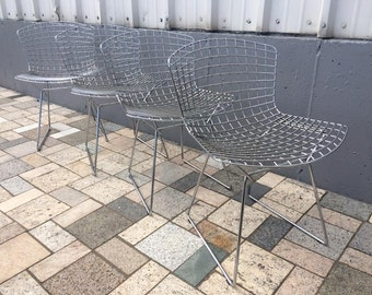 4 Knoll Bertoia Wire Side Chairs Mid-Century Modern