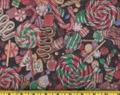 Black Christmas Candy and Cookies Fabric per Yard