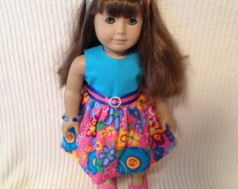 18 inch Doll (modeled by American Girl) pink floral dress with belt, bracelet and headband