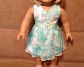 18 inch Doll (modeled by American Girl) Summer party dress with belt and hair bow