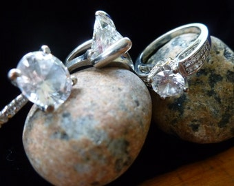 Vintage rings,Lot of 3 CZ  rings, sizes 6 1/2 - 7