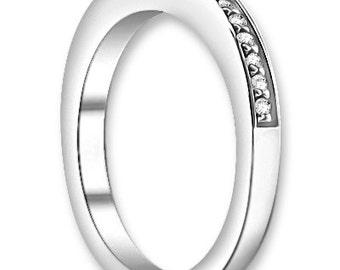 14K White/Yellow/Rose  Gold  Natural Round Diamond Wedding Band  Aniversary Ring ENS4288