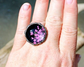 Pink Flower Pendant, Pressed Flower Ring, Real Dried Flower, Domed Glass Ring