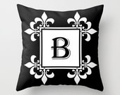 Throw Pillow Cover - ABC Letter in a Fleur-De-Lis Frame Pillow - Black White - 16x16, 18x18, 20x20 - Bedroom Nursery Home Décor by Adidit