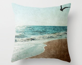 Pillow Cover, Ocean Pillow, Beach Cottage Pillow, Deep Teal Brown Pillow, Beach Pillow, Seashore Bedding, Beach Decorative Pillow