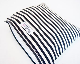 Small Zippered Wet Bag Pouch with Waterproof Lining - Black and White Stripe