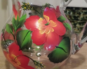 Hand painted glass pitcher in hummingbird and hibiscus  design