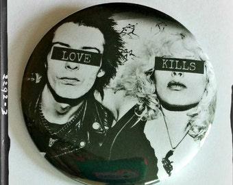 "Sid and Nancy - Large 2.25"" Pin Back Button"