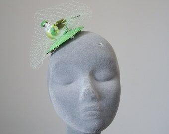 Green Fascinator - Green Bird Fascinator