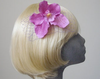 Lilac Flower Hair Comb, Lilac Orchid Hair Comb (Curly), Lilac Hair Flower, Lilac Hair Orchid, Lilac Hair Accessory, Lilac Orchid Headpiece