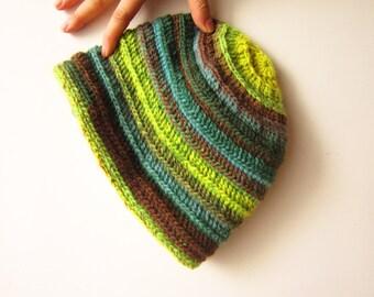 Wool Crochet Unisex Hat. Brown Green Yellow Winter Beanie. Handknit Multicolored Ski Hat. Christmas in July Gift. Striped Fresh Hat
