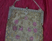 Lovely Antique Metal Micro Bead Purse, Floral Design Fancy Frame