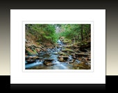 Mountain Stream Matted Print, Rustic theme wall decor, landscape wall art, green and brown, Ready for framing or framed