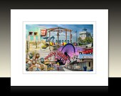 Wildwood Photography Collage Matted Print, Morey's Pier, Tram Car, Amusement Rides, Boardwalk, Ready for framing or framed