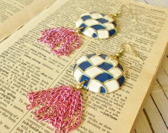 Upcycled Vintage Chains Tassel Earrings, Navy & Cream Checkerboard, Circle Earrings, Magenta pink, Fringe earrings, OOAK, PoP Art style, Ska