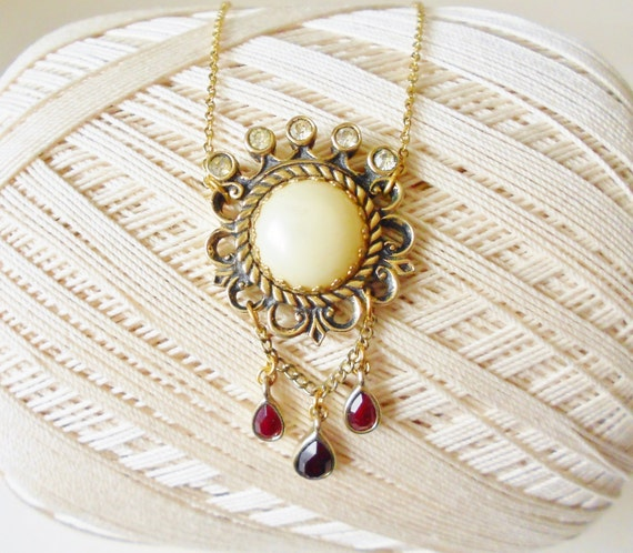 Elegant Queen Necklace, Antique Style, Upcycled Vintage Pendant, Pearl Rhinestones and Gold, Garnet Red Drops, Regal, Luxe