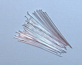 Head Pins - Sterling Silver Head Pins - 2 Inches - 24 Gauge - 50 Pieces
