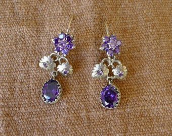 "SALE Guatemalan gold wash small romantic floral dangle earrings purple stones - petite romantic  1 1/2"" drop"