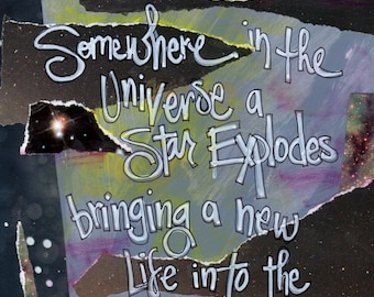 SOMEWHERE In THE UNIVERSE, Baby Art, Nursery Art, New Baby Gift, Baby Gift, Inspirational Art, Wall Art,  by Northwest  Artist Mary Klump