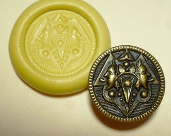 Antique button mold- Two Faces, flexible silicone push mold, PMC, Art Clay Silver, fimo, Sculpey, jewelry mold B12