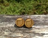 Wood Ohio State Small Stud Earrings