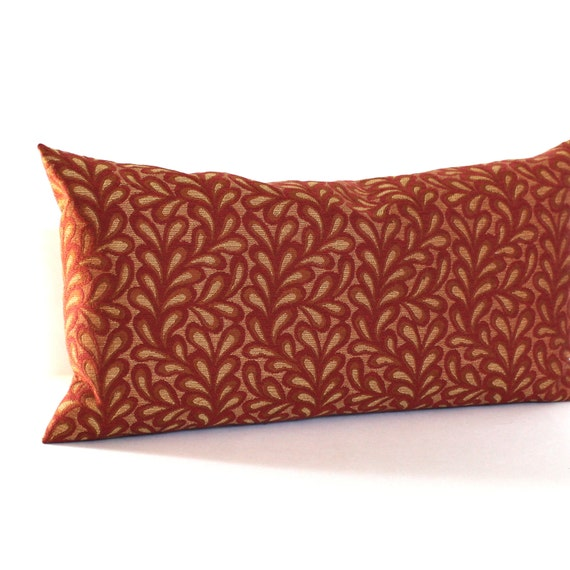 Lumbar Pillow Cover Brick Red Gold Leaf Vine by couchdwellers