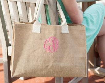 Bride and Bridesmaids Gifts Burlap Tote Bag, Personalized Gifts, Burlap Personalzed Tote Set of 5