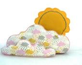 Cloud Pillows & Sun Pillow  Pink Grey Nursery Bedroom Decor Wall Art - Set of 3