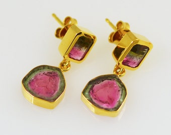 Watermelon Tourmaline Slices and Bicolored Tourmaline 18k Earrings