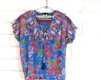 80's FRES PEASANT BLOUSE vintage designer Diane Fres boho sheer floral ruffle top drawstring M
