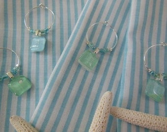 Set of Six Wine Charms - Pale Blue and Mint with Glass Beads - Glass Wine Charms Made by Pillowscape Designs
