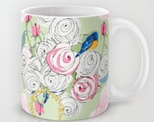 Shabby Chic Bluebirds and Roses mugs