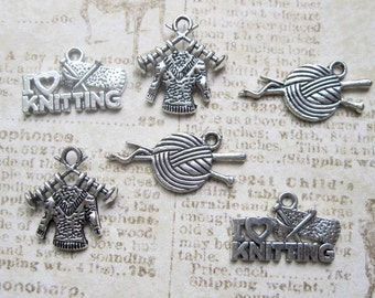 Knitting Charm Collection in Silver Tone - C2157