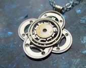 "Steampunk Flower Necklace ""Enigma"" Elegant Recycled Watch Parts Gear Pendant Mechanical Plant Balance Wheel Petals Valentine's Day"