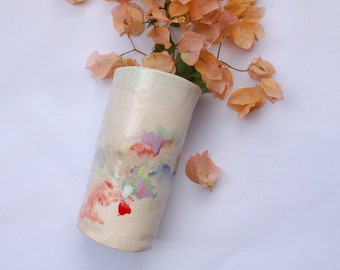 Rustic hand built stoneware vase- light pastels, red, green, lilac