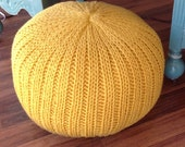 Knitted pillow pouf ottoman mustard yellow